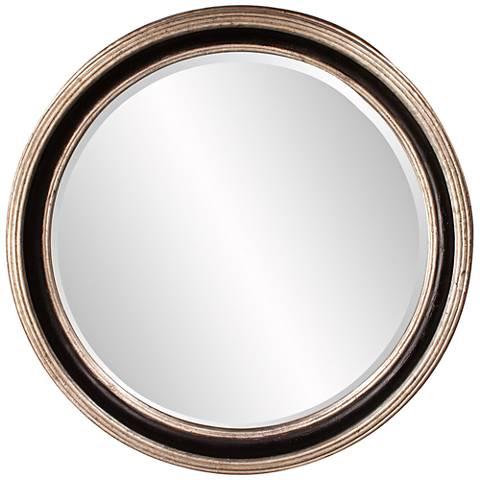 """Howard Elliott Cole Champagne Leaf 36"""" Round Wall Mirror"""