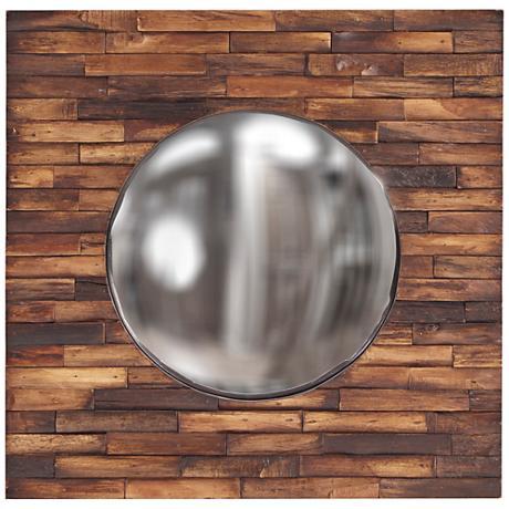 "Howard Elliott Forrest Wood Plank 24"" Square Wall Mirror"