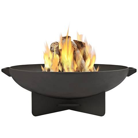 Anson Dark Gray Steel Wood-Burning Round Fire Bowl