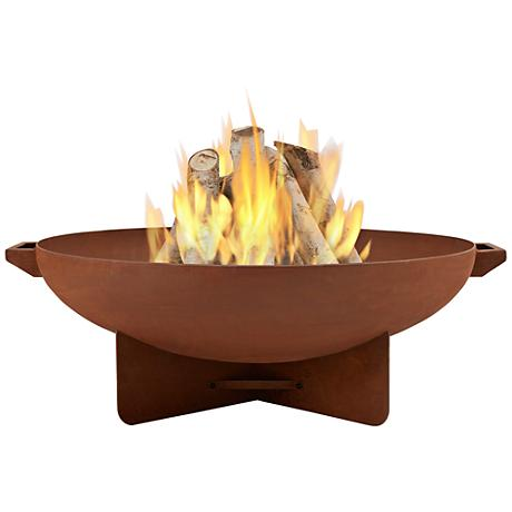 Anson Rust Steel Wood-Burning Round Fire Bowl