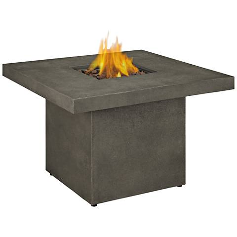 Ventura Glacier Gray Square Propane Chat Fire Table