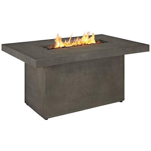 Ventura Glacier Gray Rectangle Propane Chat Fire Table