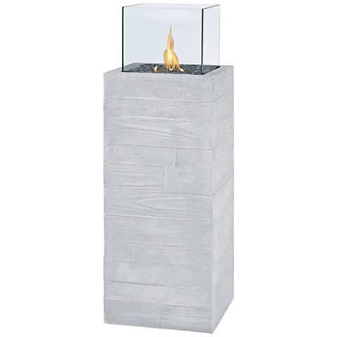 Board Form Light Gray Faux Wood Propane Fire Column