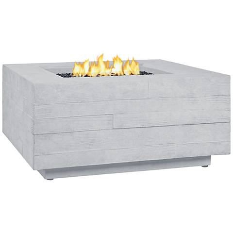 Board Form Light Gray Faux Wood Square Propane Fire Table