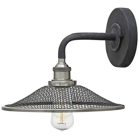 "Hinkley Rigby 8 1/2""H Aged Zinc Barn Light Wall Sconce"