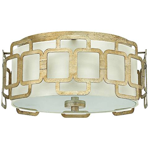 "Hinkley Sabina 15"" Wide Silver Leaf Round Ceiling Light"