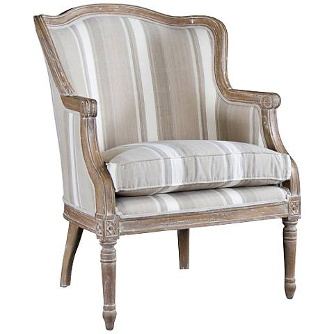 Baxton Studio Charlemagne Brown Stripes Accent Chair