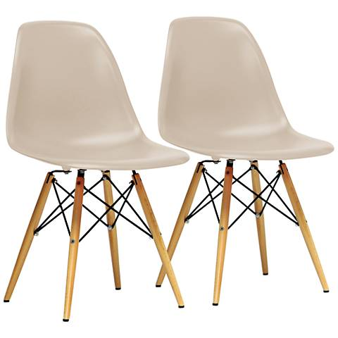 Baxton Studio Azzo Beige Shell Wood Side Chair Set of 2