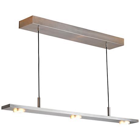 "Cerno Brevis 28"" Wide Brushed Aluminum LED Island Pendant"