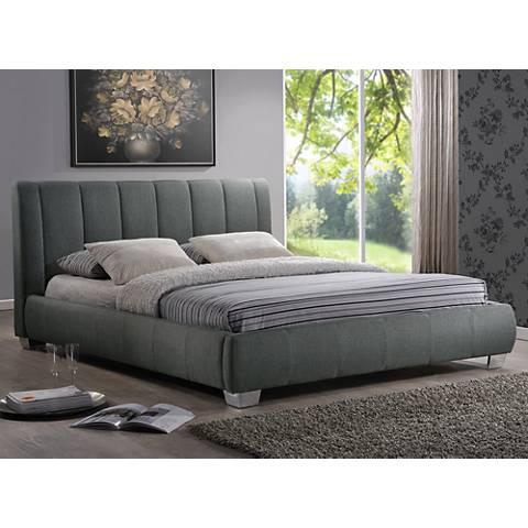 Baxton Studio Marzenia Gray Linen Queen Platform Bed