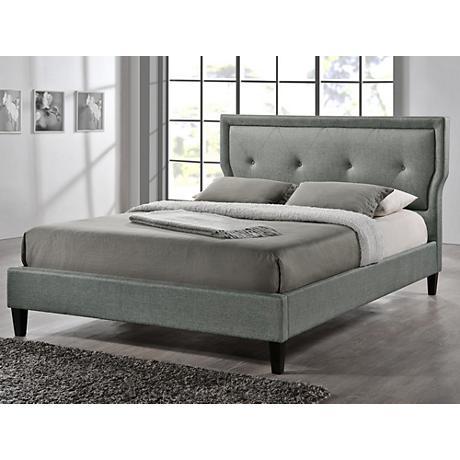 Baxton Studio Marquesa Gray Linen Full Platform Bed
