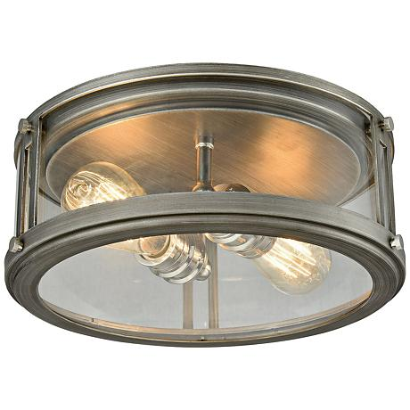 """Coby 13""""W Weathered Zinc and Polished Nickel Ceiling Light"""