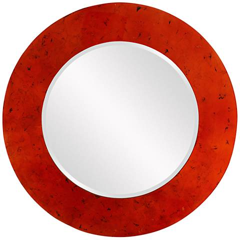"Howard Elliott Kayla Lotus Orange 36"" Round Wall Mirror"