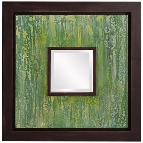 "Howard Elliott Monet Green Canvas 24"" Square Wall Mirror"