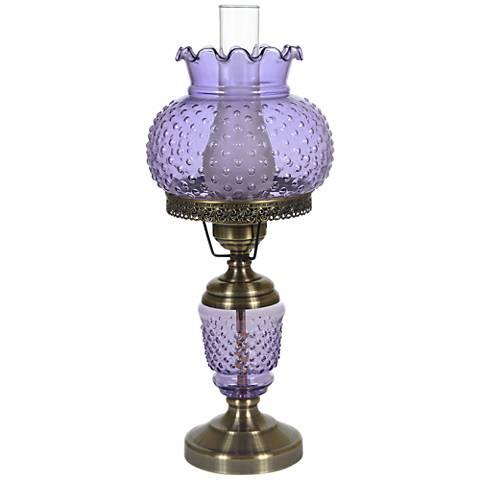 "Violet Hobnail Glass 23"" High Hurricane Table Lamp"