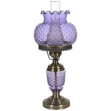 violet hobnail glass 23 high hurricane table lamp. Black Bedroom Furniture Sets. Home Design Ideas