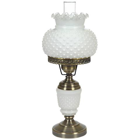 "White Hobnail Glass 23"" High Hurricane Table Lamp"