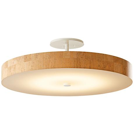 """Hubbardton Forge Disq 23""""W White and Cork LED Ceiling Light"""