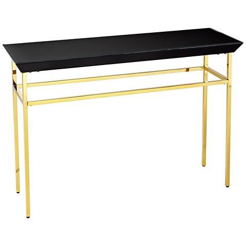Calzuda Black Glass-Top Satin Gold Console Table