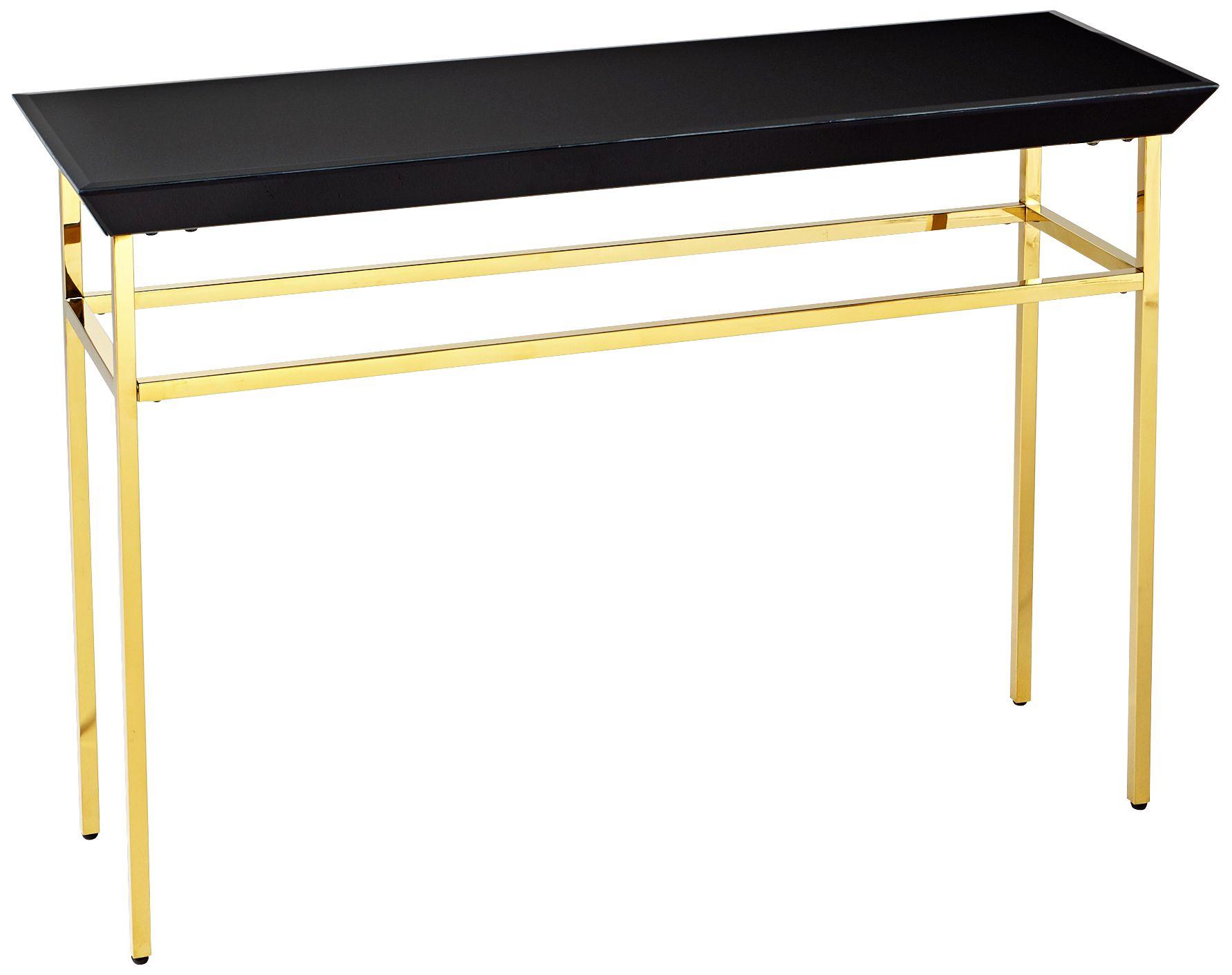 calzuda black glasstop satin gold console table