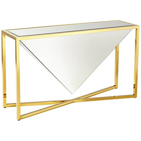 Titan Sculptural Mirror-Glass Brass Console Table