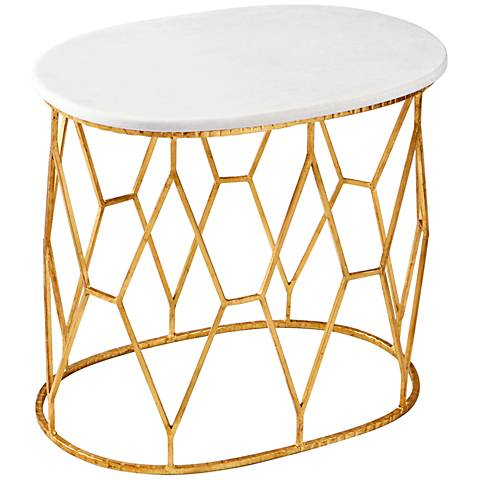 Telex Ovoid Marble Gold Leaf Iron Accent Table