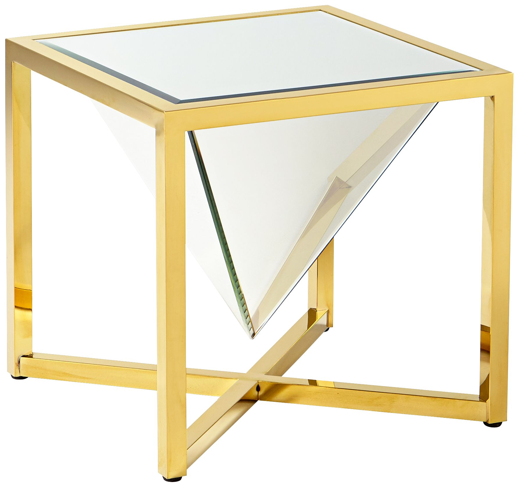 Titan Sculptural Mirror Glass Brass Square Side Table