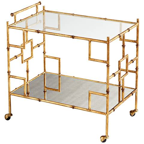 Molly Martin Gold Leaf Welded Iron Rolling Bar Cart