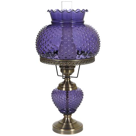 "Purple Hobnail Glass 26"" High Hurricane Table Lamp"
