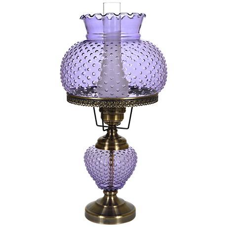violet hobnail glass 26 high hurricane table lamp. Black Bedroom Furniture Sets. Home Design Ideas