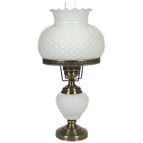 white hobnail glass 26 high hurricane table lamp 1t638. Black Bedroom Furniture Sets. Home Design Ideas