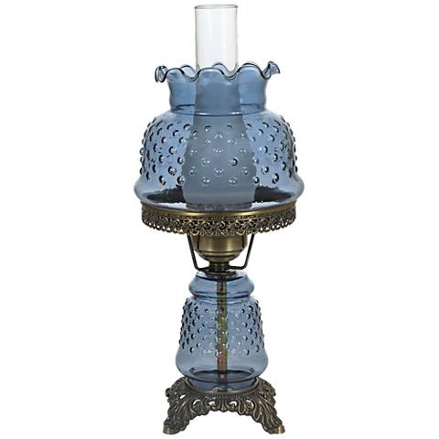 """Blue Hobnail Glass 18 1/2"""" High Hurricane Accent Table Lamp"""