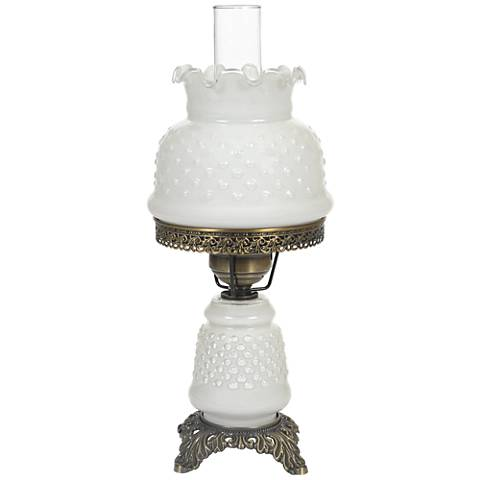 white hobnail glass 18 1 2 high hurricane accent table. Black Bedroom Furniture Sets. Home Design Ideas