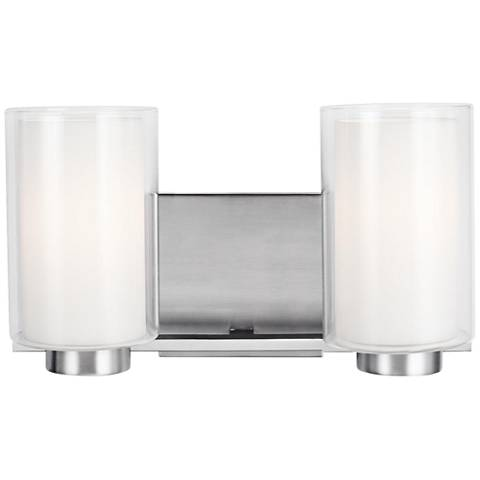 "Feiss Bergin 2-Light 13 1/2"" Wide Satin Nickel Bath Light"