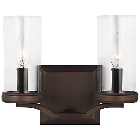 Feiss jacksboro 11 w 2 light antique copper bath light 1t666 lamps plus for Copper bathroom light fixtures