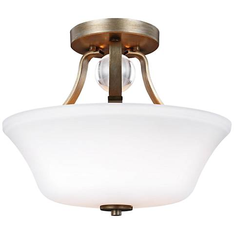 "Feiss Evington 14"" Wide Sunset Gold Steel Ceiling Light"