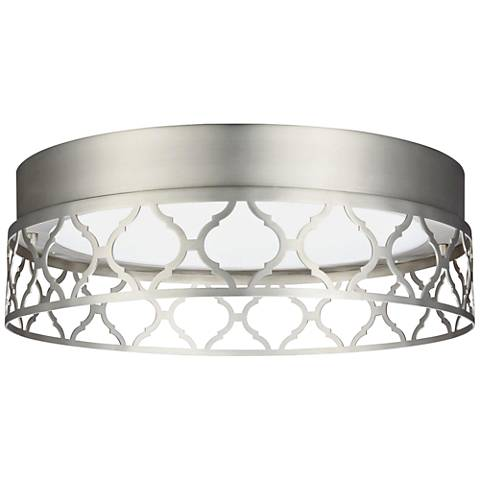 "Feiss Amari Vintage 13""W Satin Nickel LED Ceiling Light"