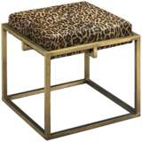 Jamie Young Shelby Leopard Print Hide Antique Brass Stool