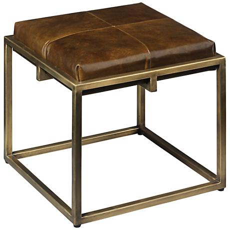 Jamie Young Shelby Olive Leather Antique Brass Stool