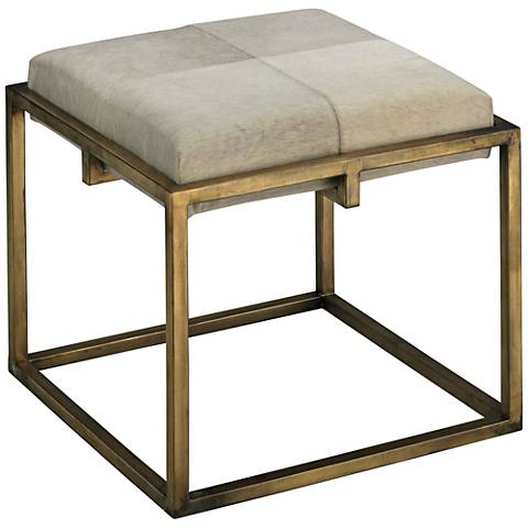 Jamie Young Shelby White Animal Hide Antique Brass Stool