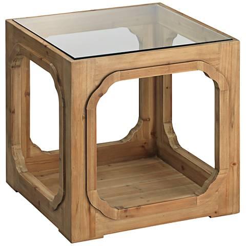 Jamie Young Moon Lake Mango Wood Open Cube Side Table