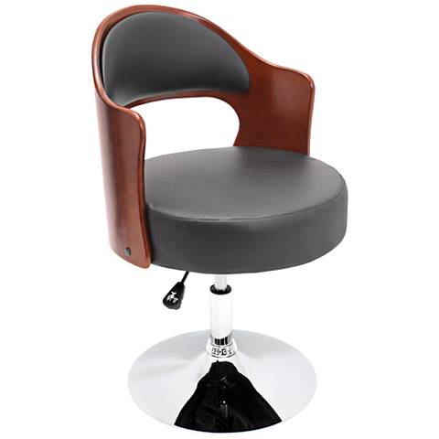 Cello Black Faux Leather Adjustable Cherry Accent Chair