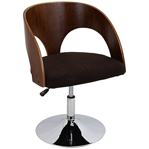 Ava Brown Adjustable Bent Wood Walnut Accent Chair