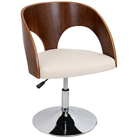 Ava Cream Adjustable Bent Wood Walnut Accent Chair