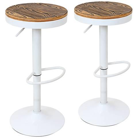 Dakota White Painted Round-Seat Adjustable Barstool