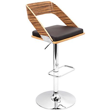 Vuno Mid-Century Brown Adjustable Barstool