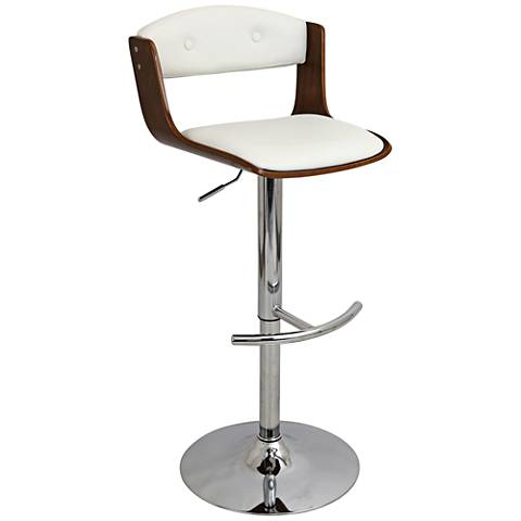 Scucci Mid Century White Faux Leather Adjustable Barstool