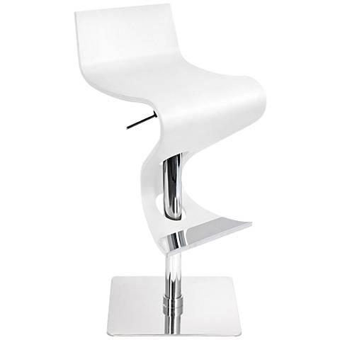 Viva Flowing White Bent Wood Adjustable Barstool
