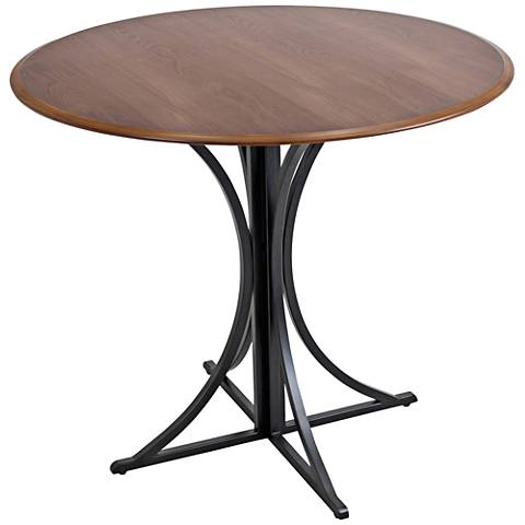 Boro Painted Black Small Round Walnut Dining Table