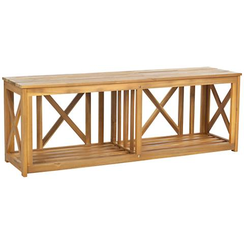 Delmond Teak Brown Wood Outdoor Bench